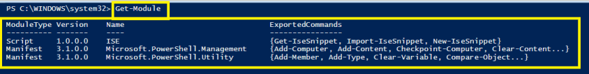 PowerShell Module - executing 'Get-Module' CMDLET to know the list of loaded module in PowerShell ISE