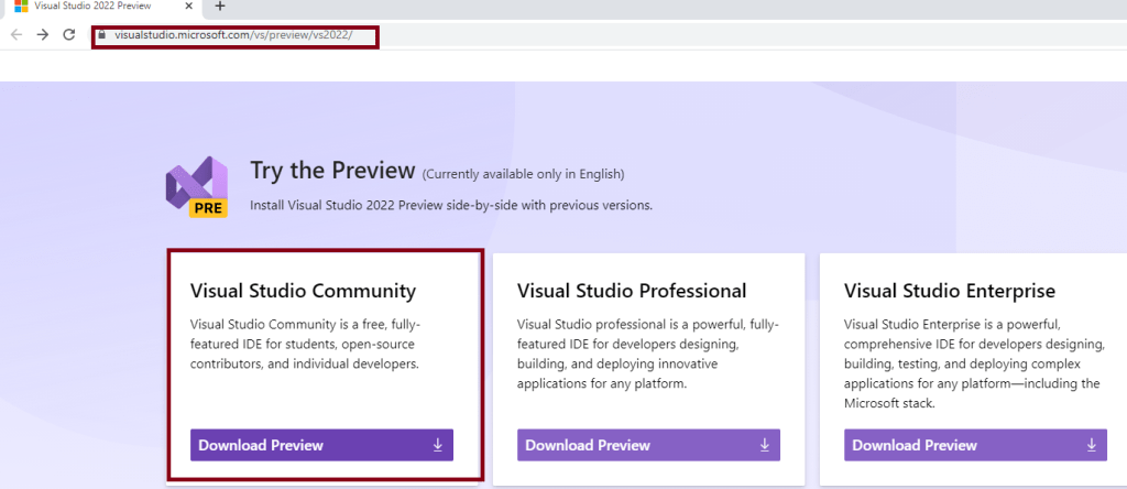Visual studio 2022 preview - Downloading community edition