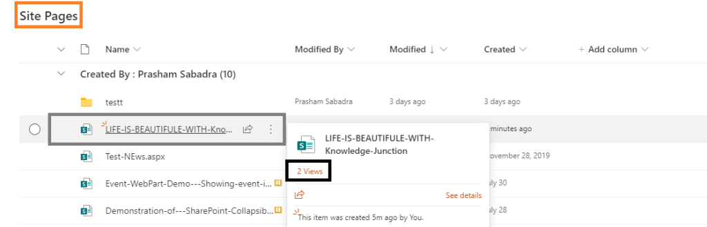 """Microsoft 365 - SharePoint Online - before activating site level feature - """"SharePoint Viewers"""" - we could see only number of views and not the viewers"""