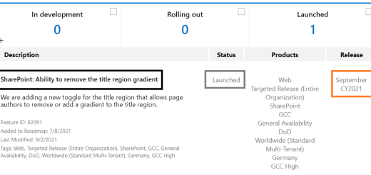 Microsoft 365 - SharePoint online - Roadmap ID 82091 - Page Authors now have ability to remove the title region gradient