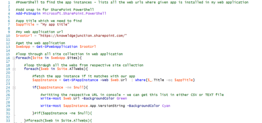 SharePoint On-Premises - PowerShell script to enlist all webs where given app is instantiated