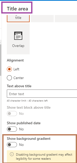 Fig : Microsoft 365 - SharePoint online - Title area in edit mode - turning off - Show background gradient