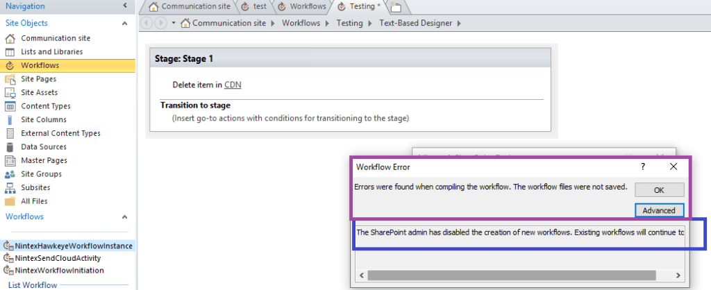 Fig : Microsoft 365 - After disabling creation of new SharePoint 2013 workflows for SharePoint online - error from SharePoint designer 2013 while publishing new workflow