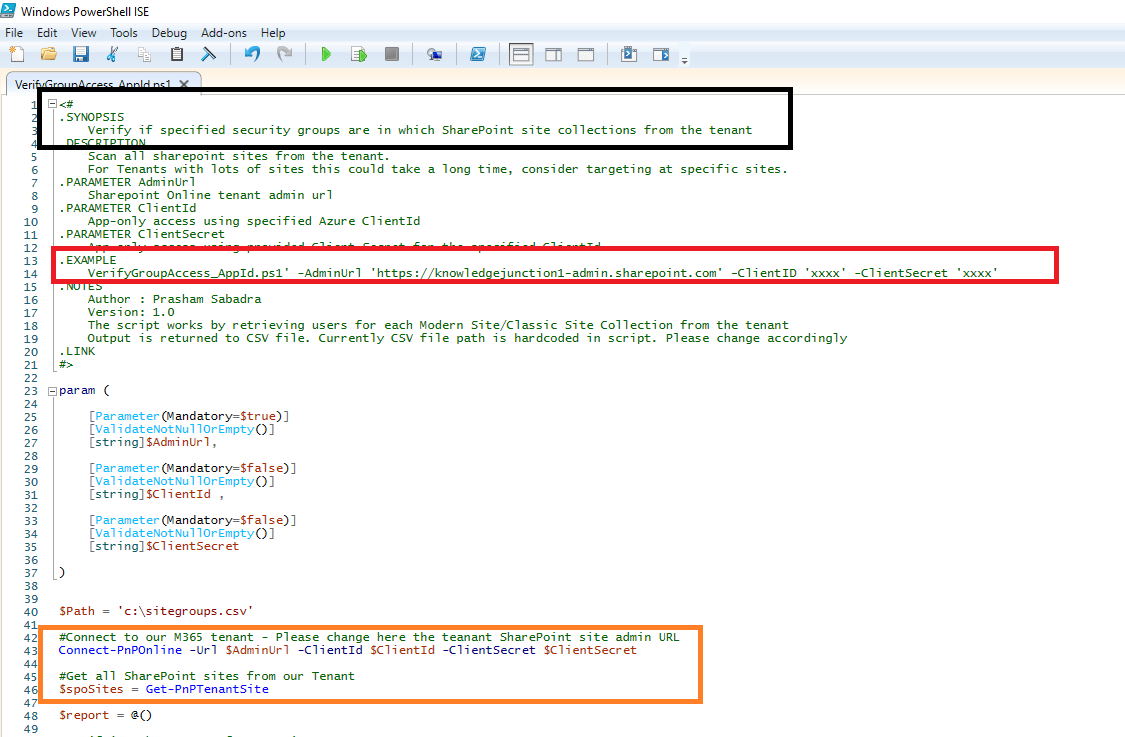 Microsoft 365 - PowerShell script - Get all SharePoint sites where respective security group has permissions - using PnP PowerShell (connecting Tenant using Azure app client id and client secret key)