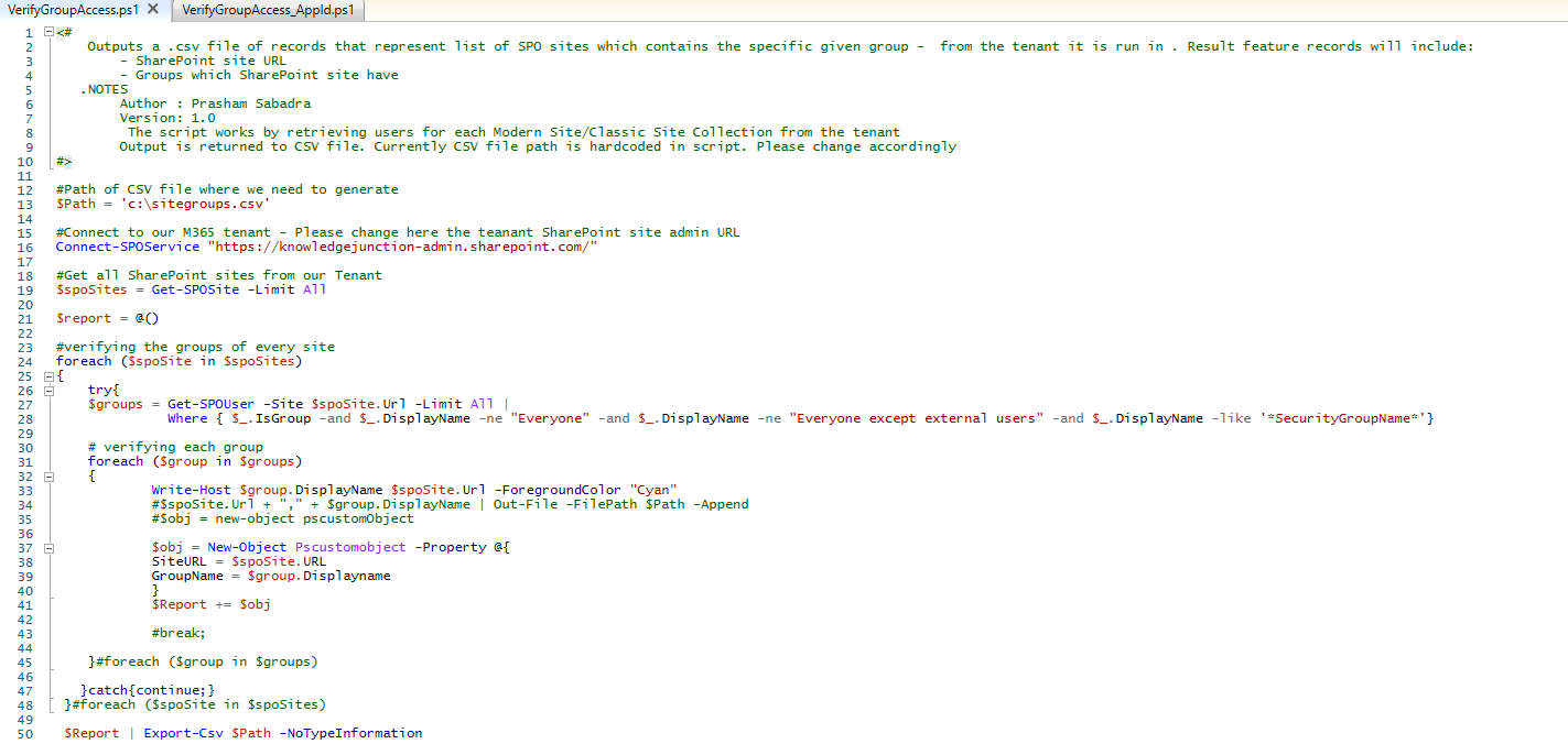 Microsoft 365 - PowerShell script - Get all SharePoint sites where respective security group has permissions using SharePoint online PowerShell (connecting Tenant using UserName and Password)