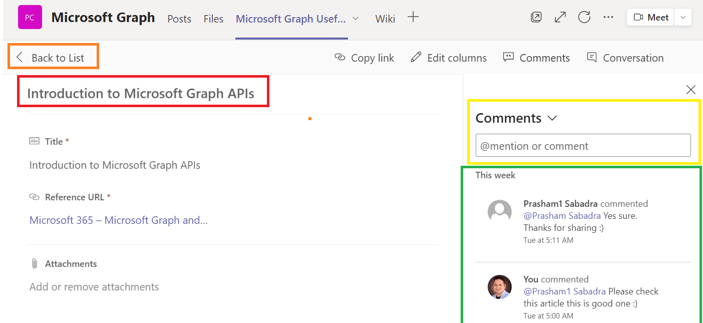 Microsoft Teams - new feature - comments and mentions in the list