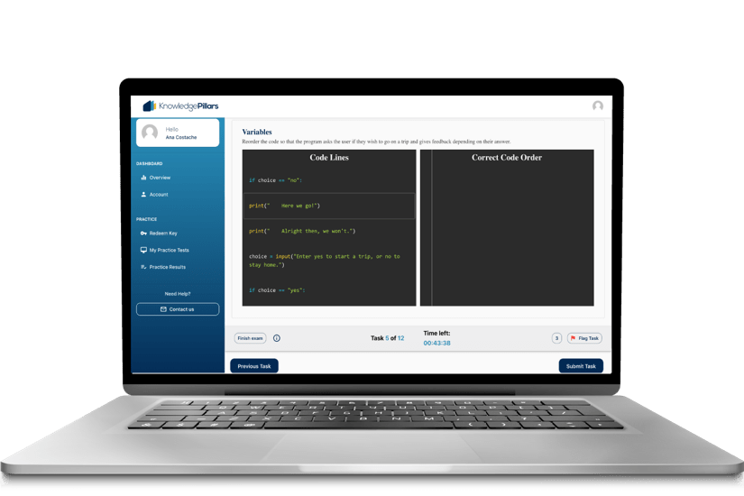 Practice Test Laptop Screen