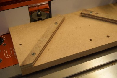 Jig to rout slots, 2mm wing cutter shown