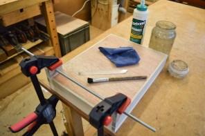 Glueing wheel brackets in place