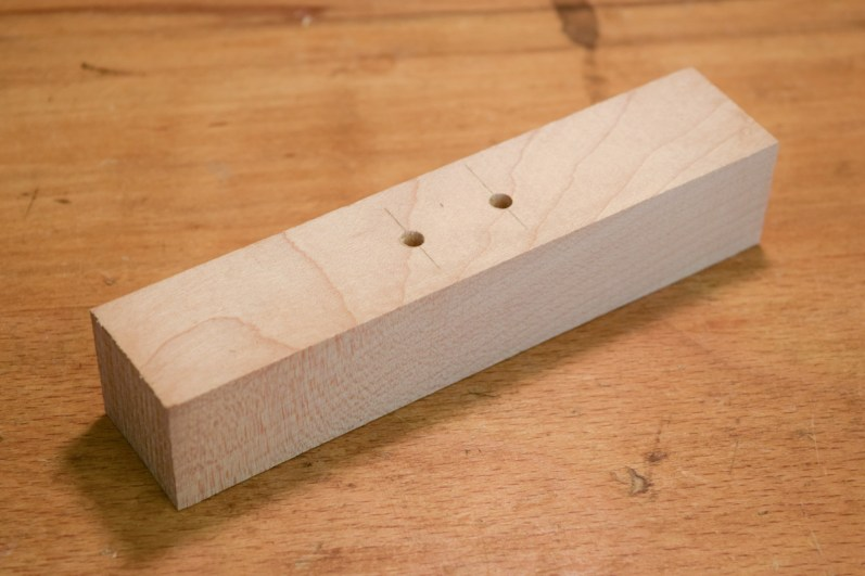 Toggle blank prepared, two 4mm holes drilled