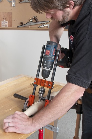 Drilling a chair leg