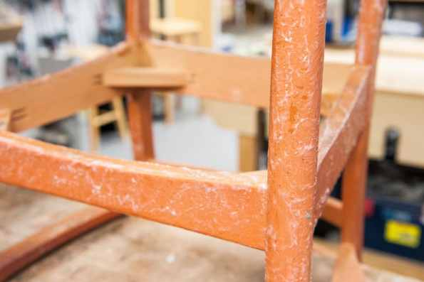 Chair covered in varnish stripper