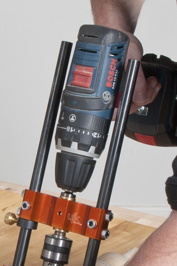 Drill guide in use with standard Bosch chuck