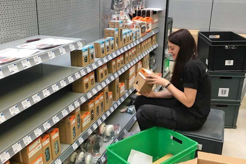 North Shields sales advisor Ruby getting to grips with the WoodSpur display