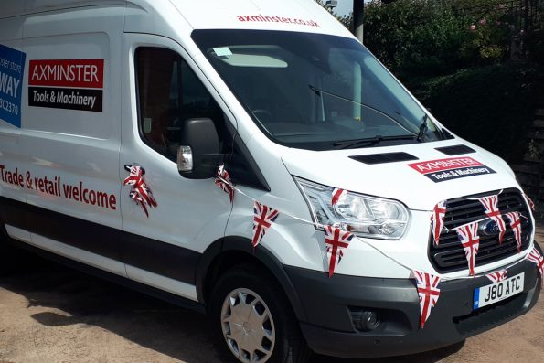 The store van took time off making local deliveries to take part in the Axminster Carnival