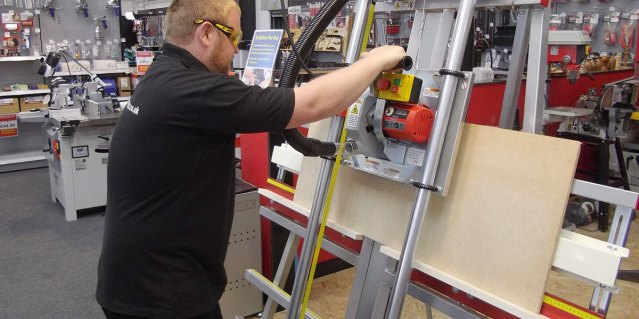 Alex Wade demonstrating Safety Speed Cut C4 Panel Saw
