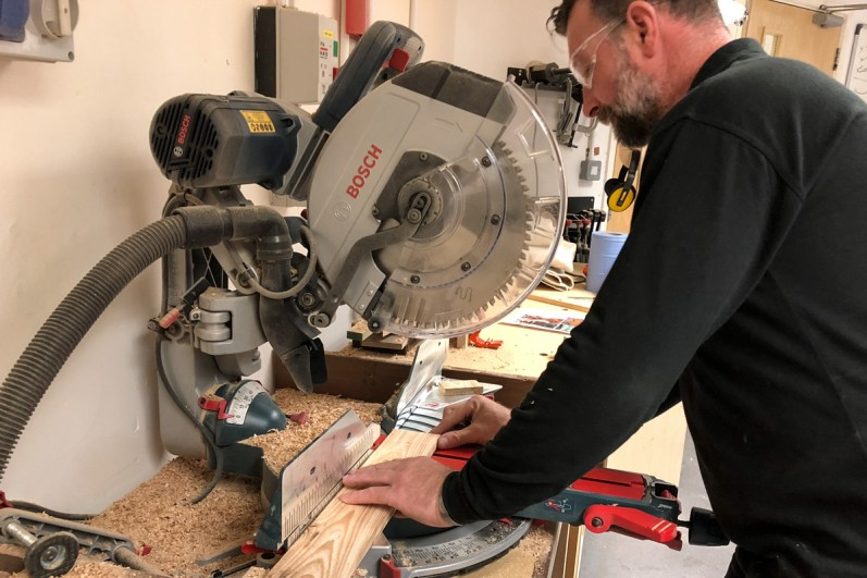 Cutting the pallet using a Bosch Circular Saw