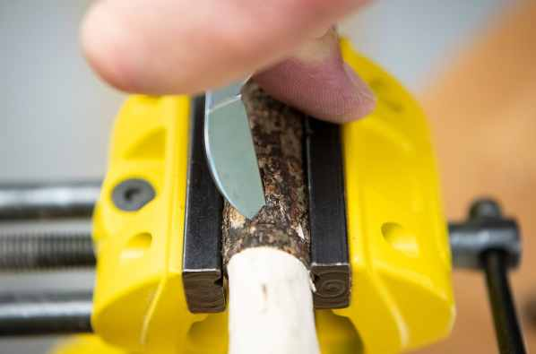 When chip carving, hold the knife correctly and ensure your workpiece is held securely