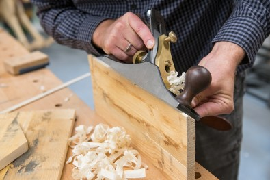 Use a hand plane to plane in the angle