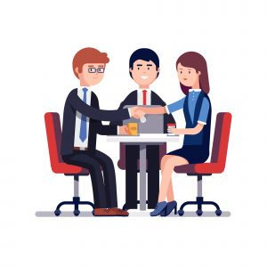 Businessman and woman handshake over round desk. Closing deal. Successful business negotiations meeting or employee job interview. Colorful flat style vector illustration isolated on white background.