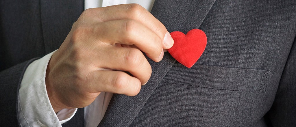 Heart on suit jacket