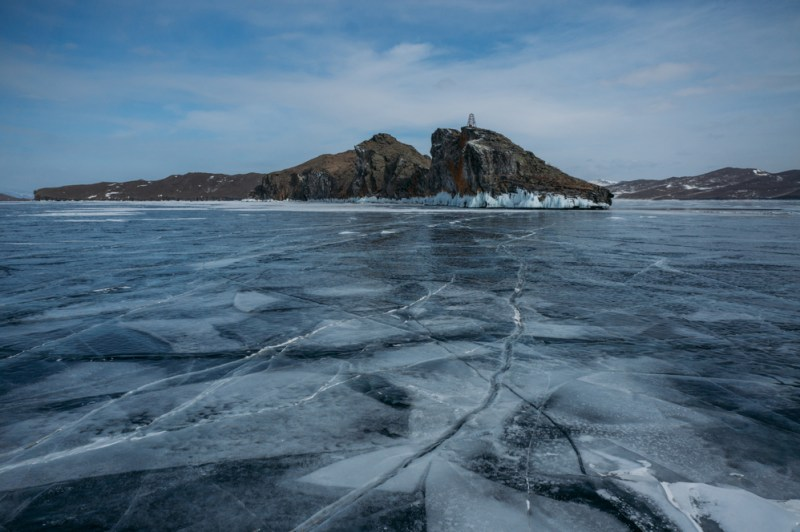 winter scene with ice lake baikal, russia, world's deepest lake