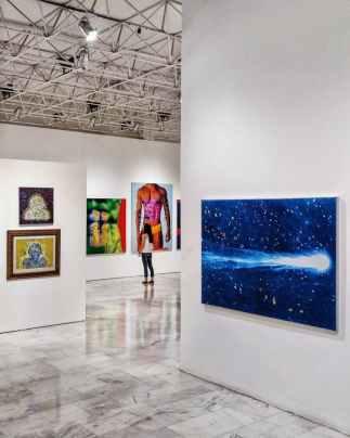 woman at artwork gallery