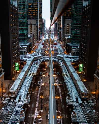 aerial photo of railway lines