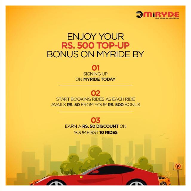 MiRyde Enjoy Rs.500 Top-Up