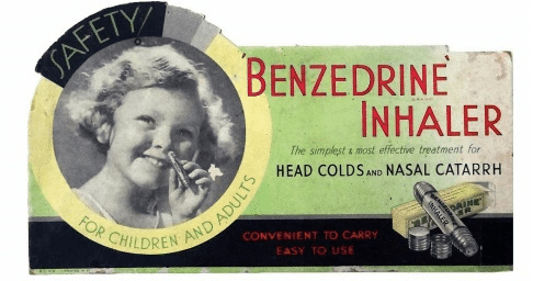 1950s Benzedrine ad showing small child holding a Benzedrine inhaler to her nose