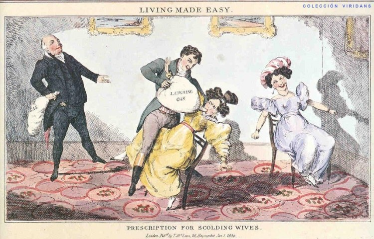 Image, cartoon from the 1800s showing a man giving his wife NOS