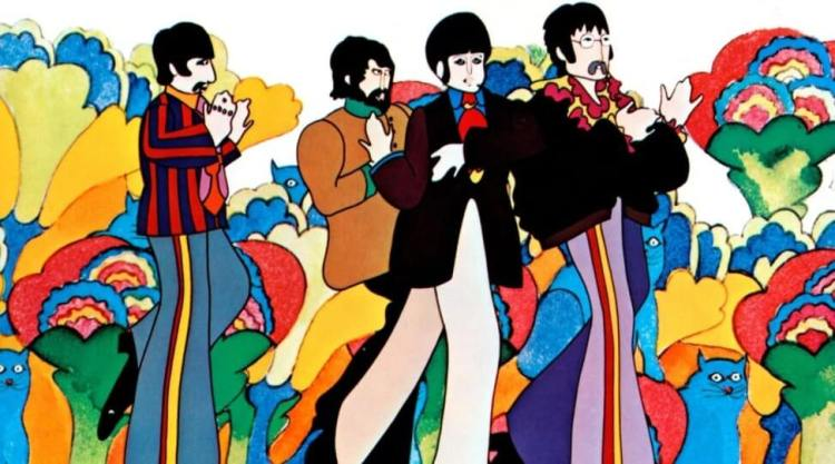 Still picture from the animated Beatles film Yellow Submarine showing John, Paul, George, and Ringo against a psychedelic background.