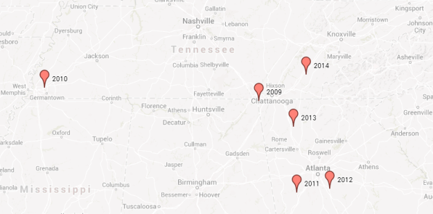 This map shows the geographic midpoints of recent Tennessee recruiting classes. The Class of 2014 has not been finalized.