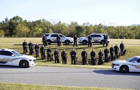 Officers, k9s, and vehicles standing on hill posing