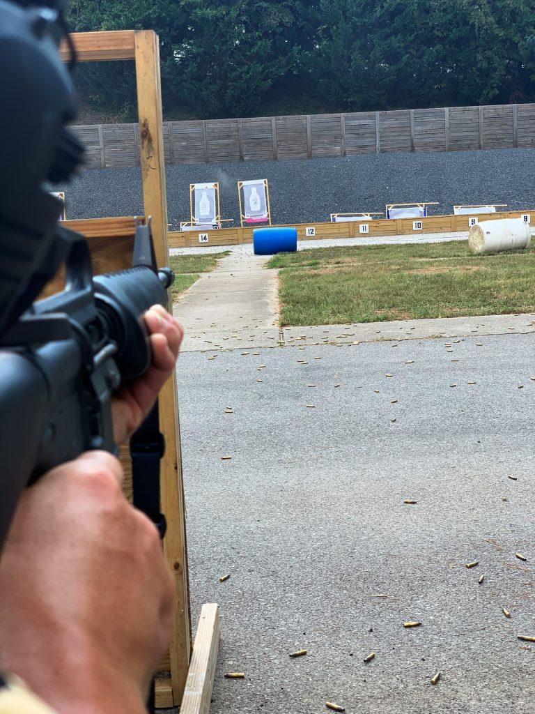 Rifle aimed at target