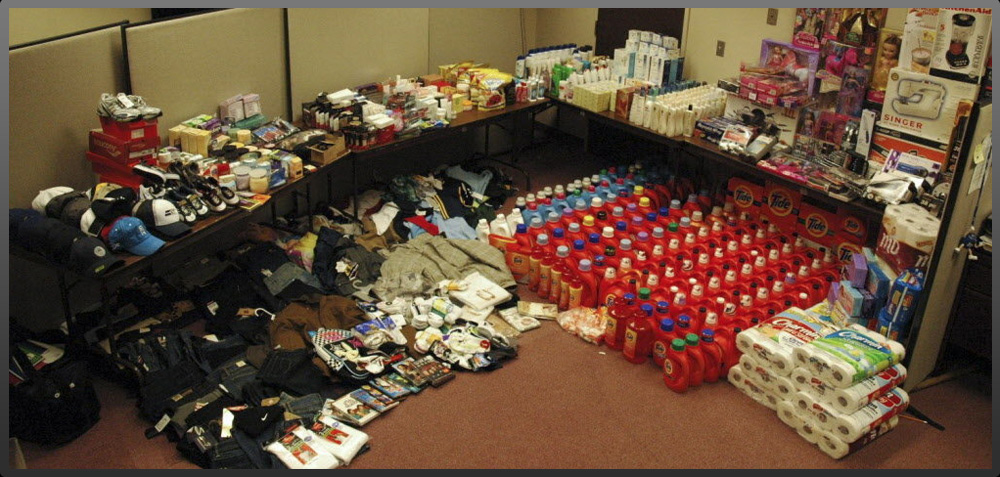 Room of organized recovered stolen retail