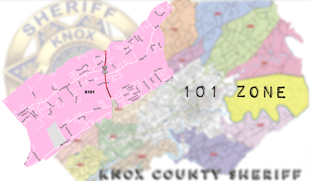 Close up map of Zone 101