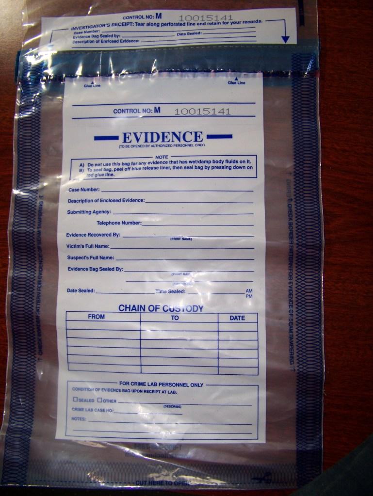 Empty evidence bag