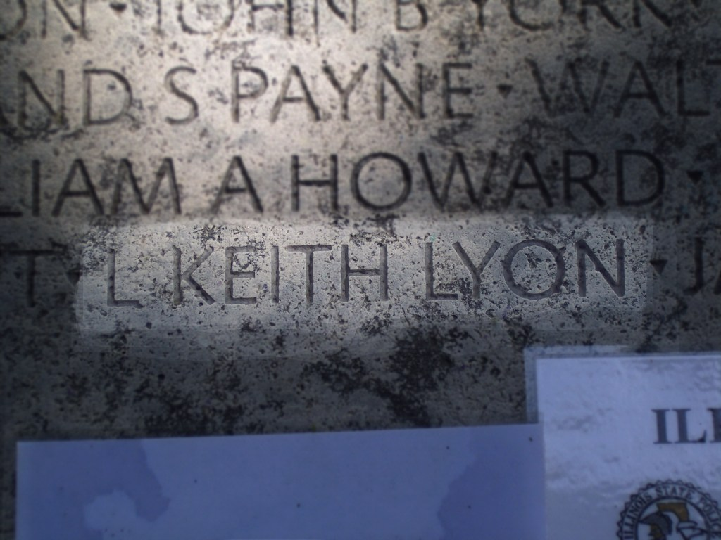 Highlight of Keith Lyon's name on memorial wall