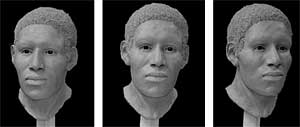 Reconstructed bust of unidentified victim, three angles