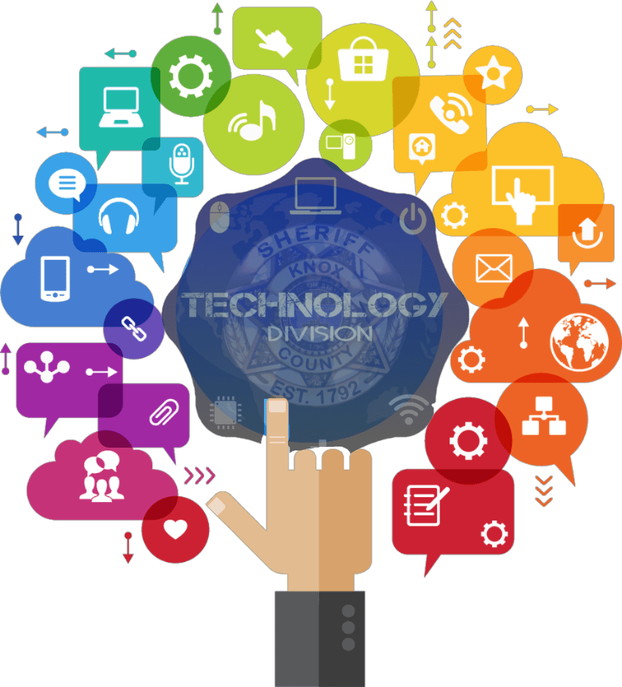 Technology Division banner: hand pointing to Technology badge surrounded by various icons