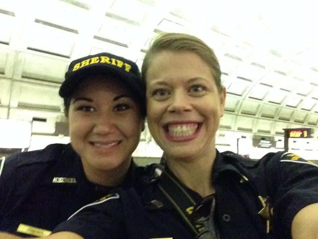Two female sheriff deputies selfie