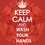 """Keep Calm and Wash Your Hands"" over KCSO badge with red overlay"