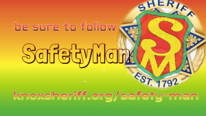 Safetyman badge with web addresses to follow