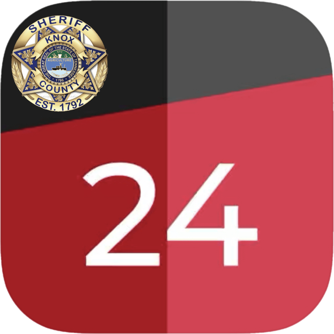 "KCSO badge with ""24"" on black and red background"