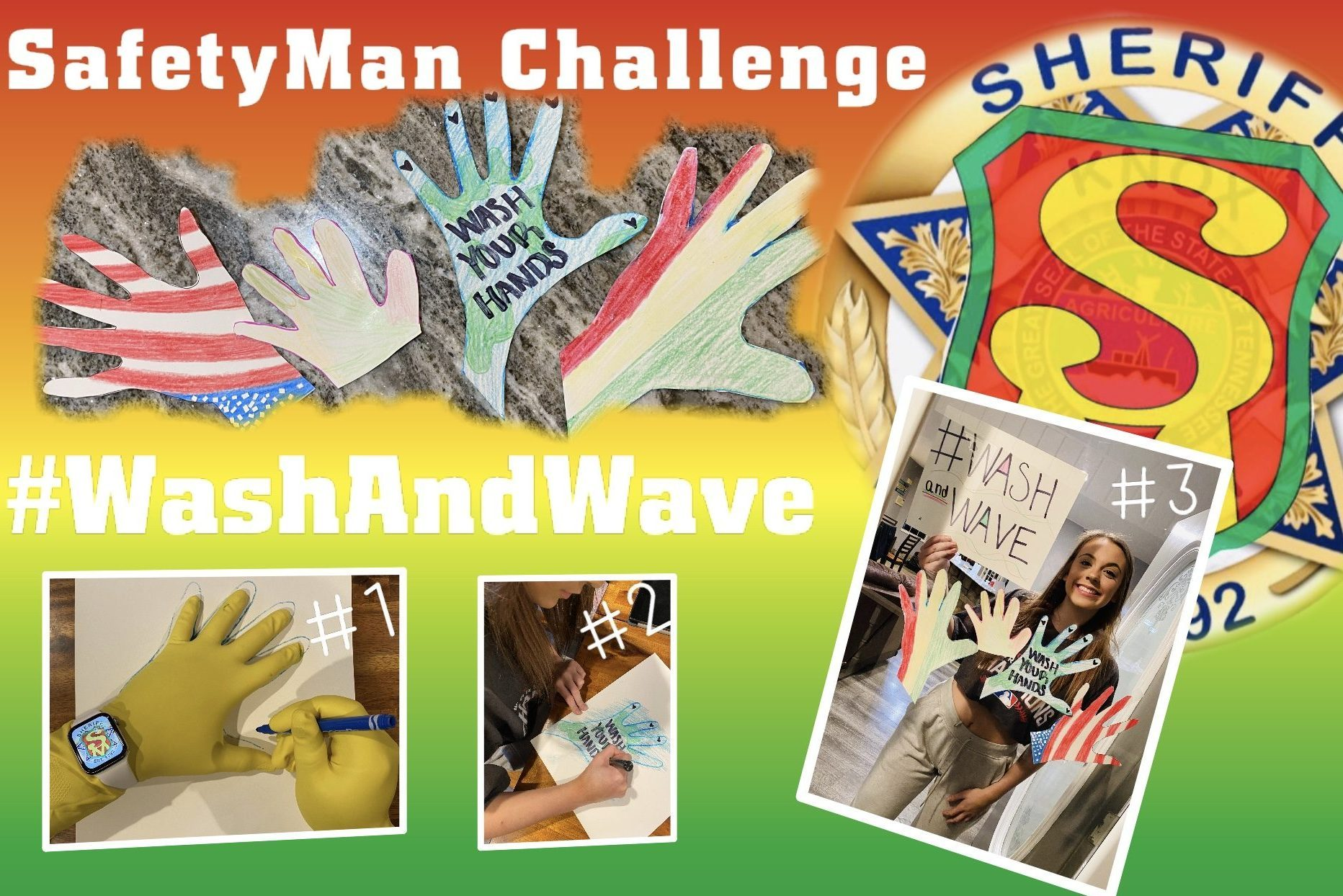 Collage of people doing wash and wave challenge with Safetyman Badge