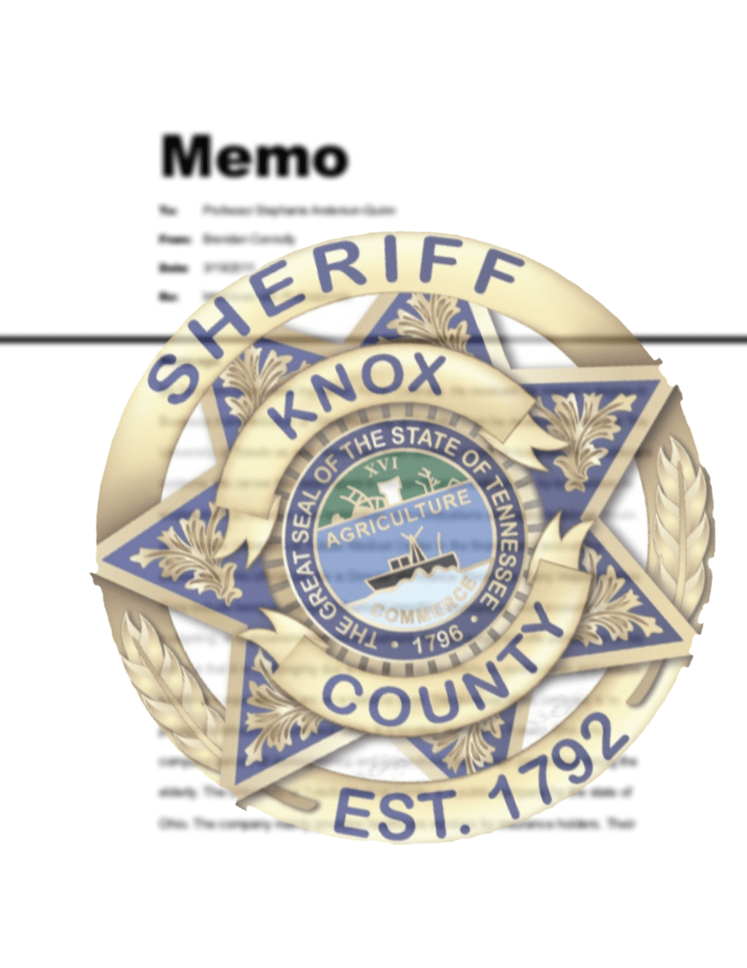 KCSO badge with memo paper in background