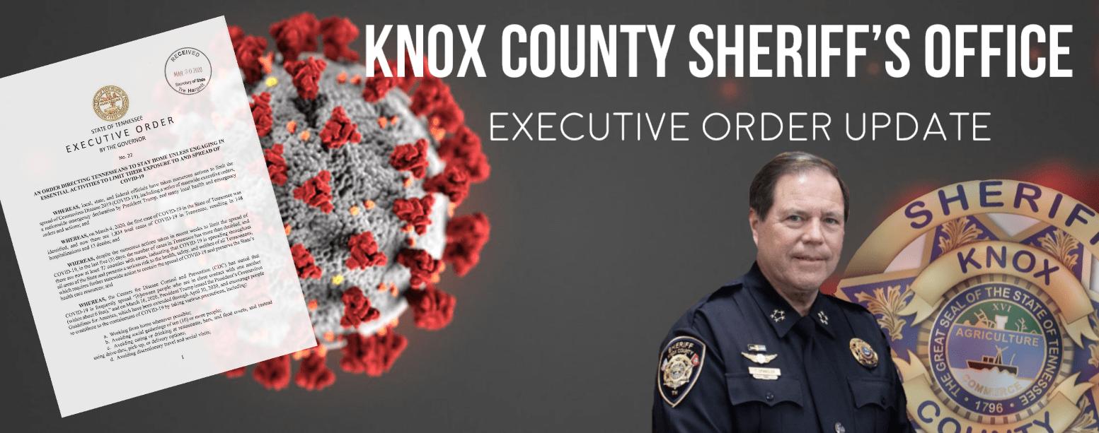 image of Sheriff, KCSO badge, virus, and executive order
