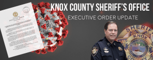 image of Sheriff, KCSO badge, virus, and executive order
