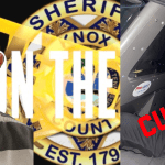 """Mugshot of inmate with KCSO badge and crossing caution tape with """"on the run"""" overlay and the individual in custody in back of cruiser"""